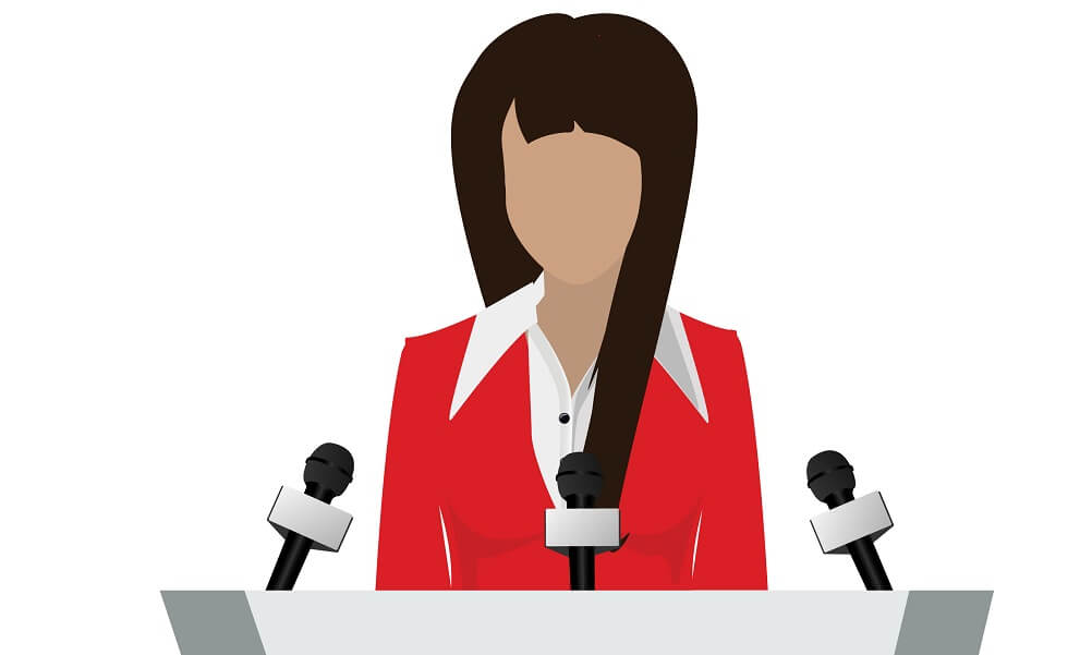 Illustration of female orator speaking from podium