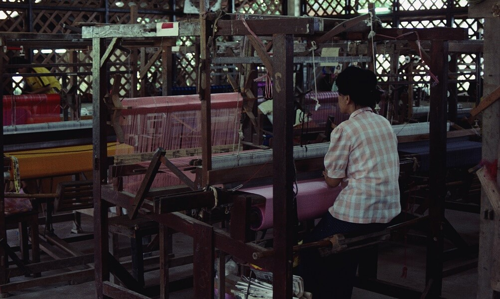Woman Weaving Silk Fabric