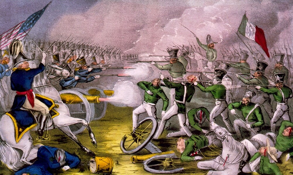 Depiction of the Battle of Buena Vista, fought February 23rd, 1847, Mexican American War