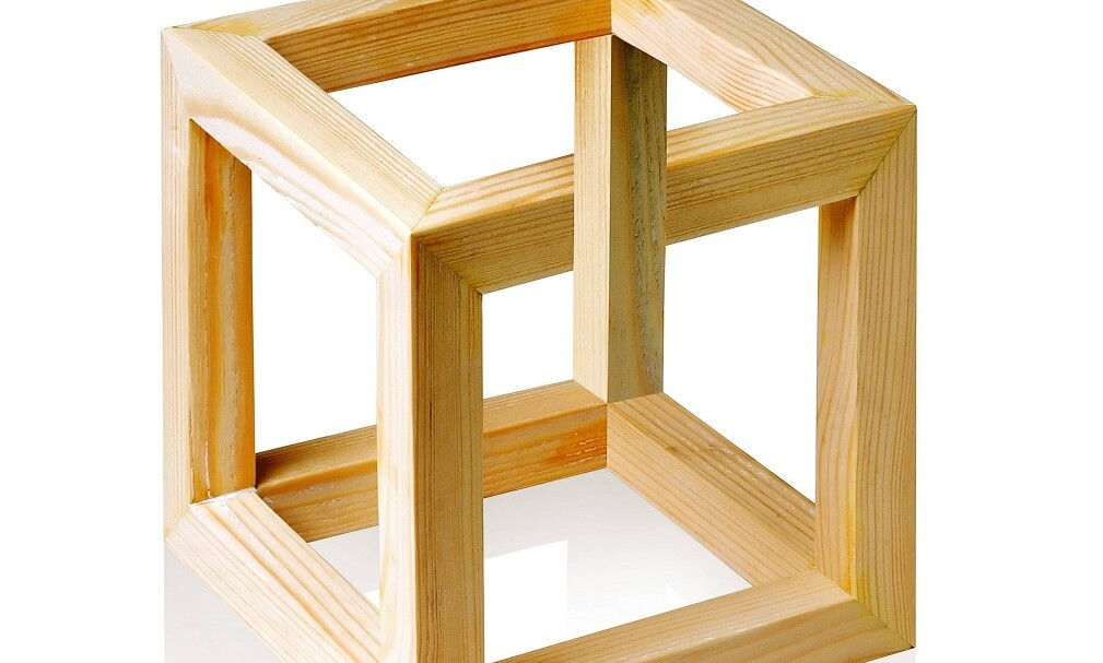 Unreal wood cube on white background