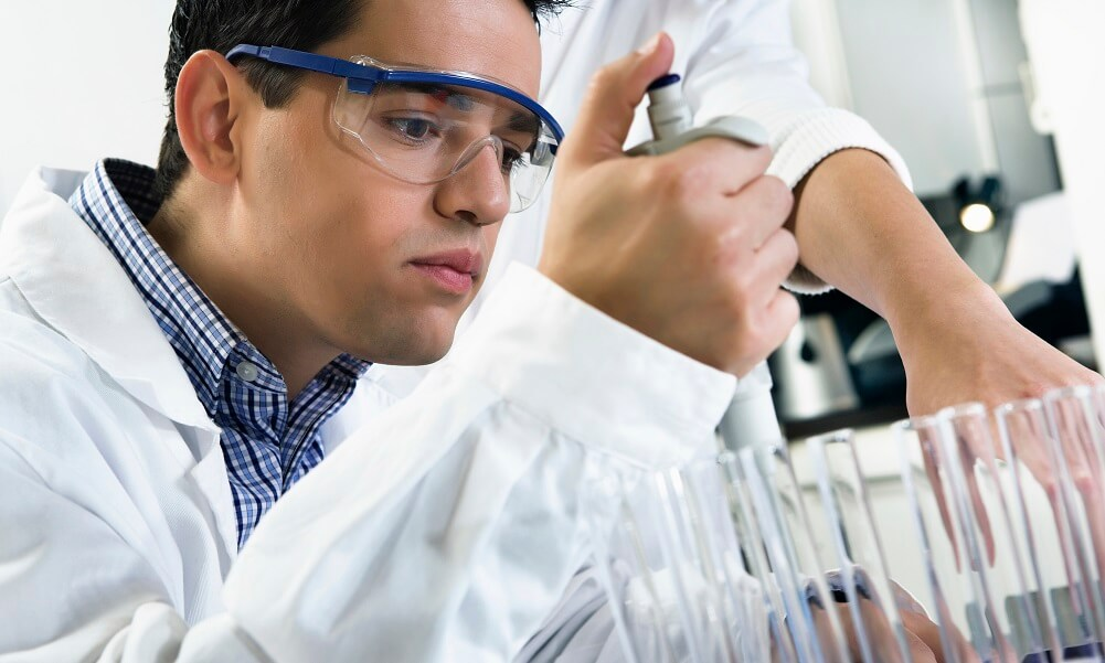 Young people working in a laboratory
