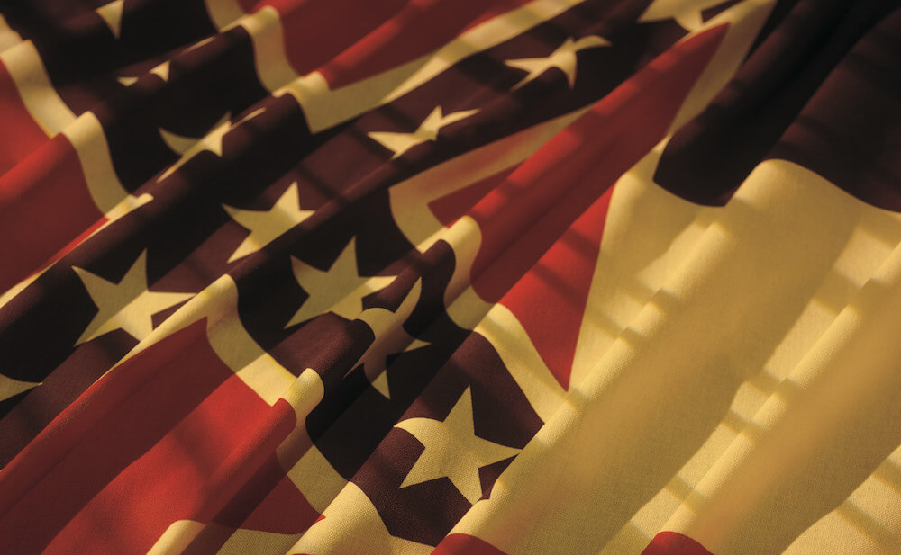 Close-up on a draped flag from the state of Mississippi