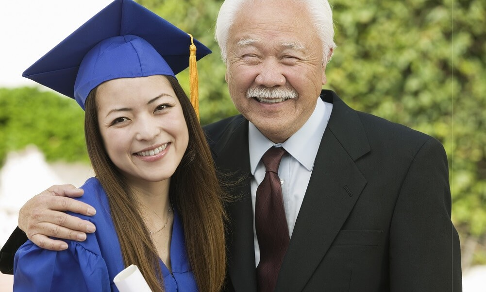 Portrait of happy female graduate and grandfather standing outdoors