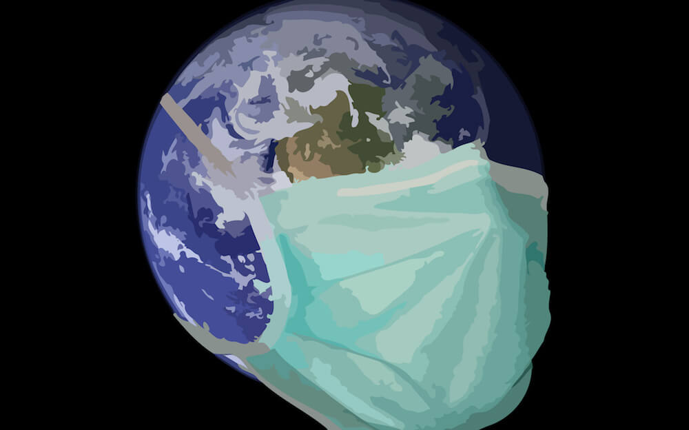 World with a surgical face mask