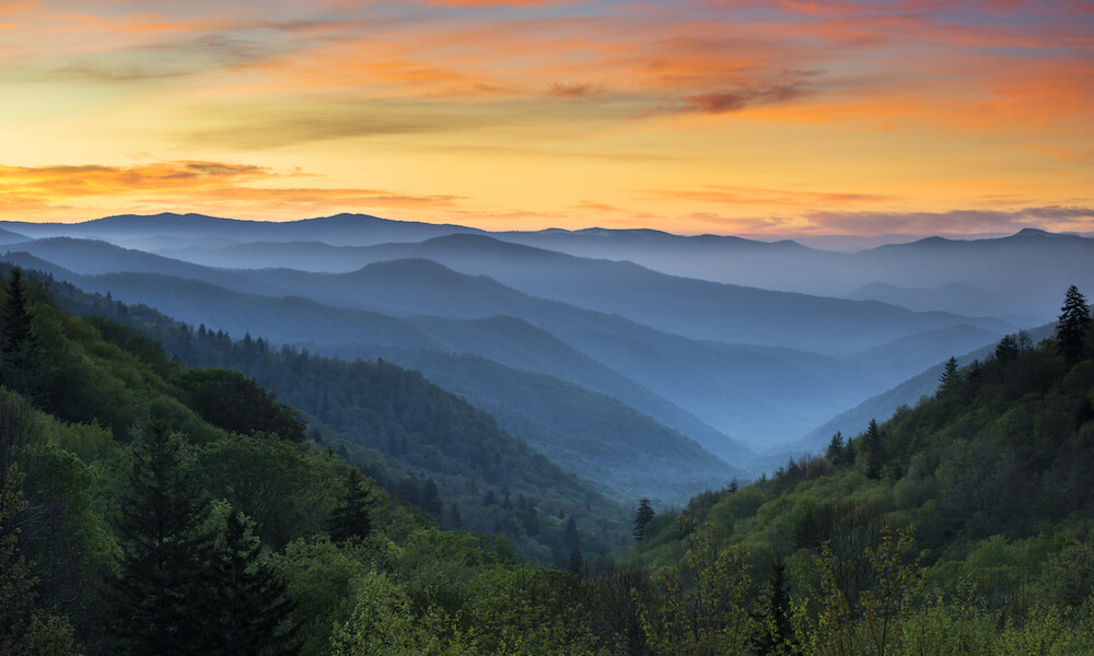 Sunrise landscape, Great Smoky Mountains National Park, Gatlinburg, TN, and Oconaluftee Valley, Cherokee, NC