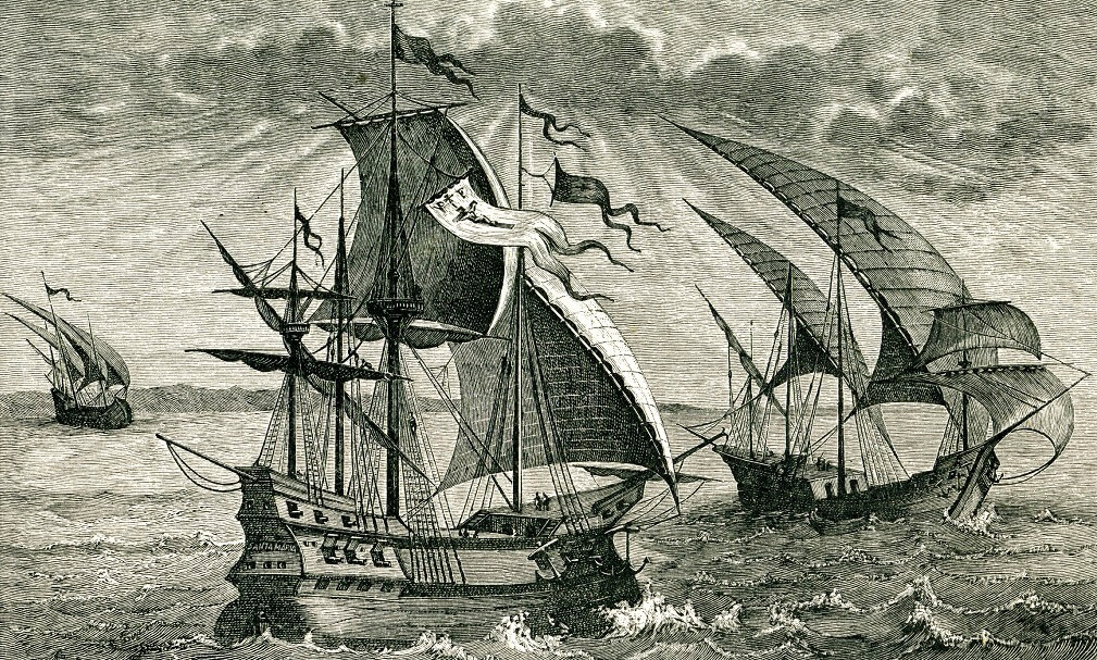 Engraving of Niña, Pinta, and Santa Maria, Columbus' ships