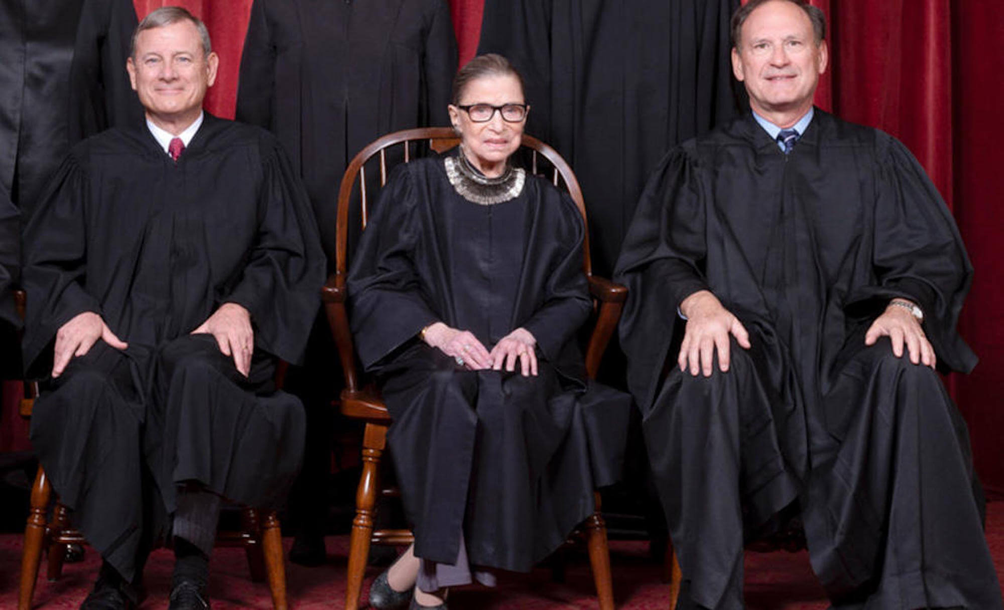 Seated left to right: Chief Justice Roberts, Justice Ruth Bader Ginsburg, and Justice Alito