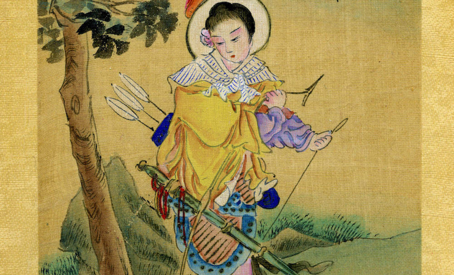 a silk painting of the legendary Hua Mulan in warrior gear