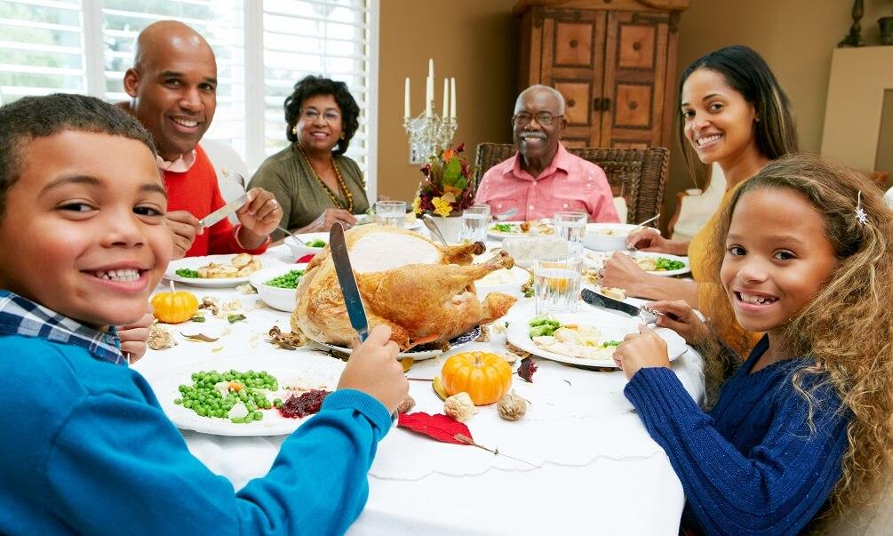 Multi-generation family celebrating Thanksgiving