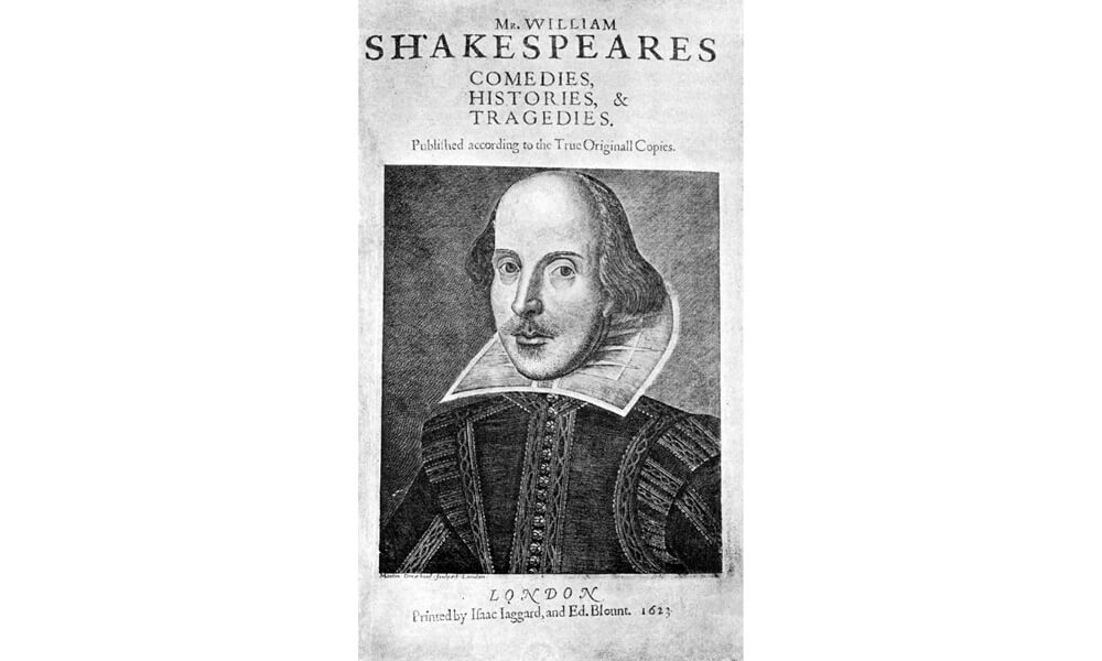 Title page from William Shakespeare's First Folio edition