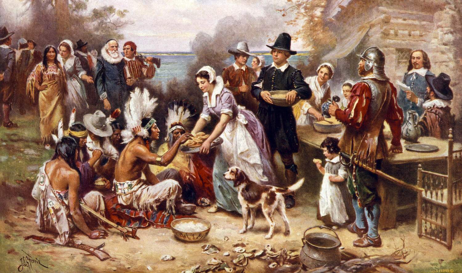 drawing of the first Thanksgiving