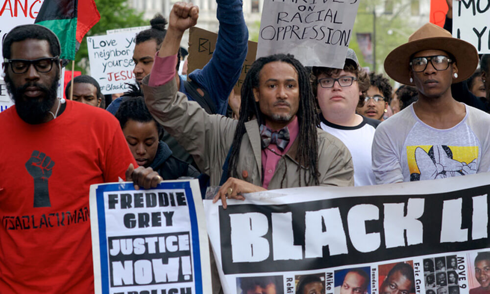Protestors in support of the national Black Lives Matter movement march in Philadelphia, PA