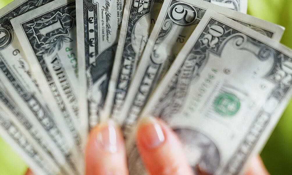 Handful of paper money