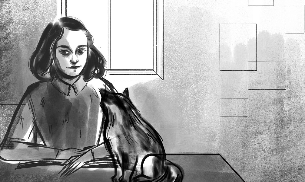 Sketch of Anne Frank sitting a desk with a cat