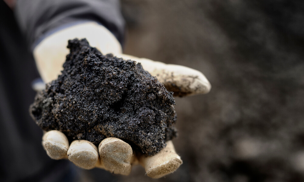 A handful of black oil rich sand from Alberta Canada.