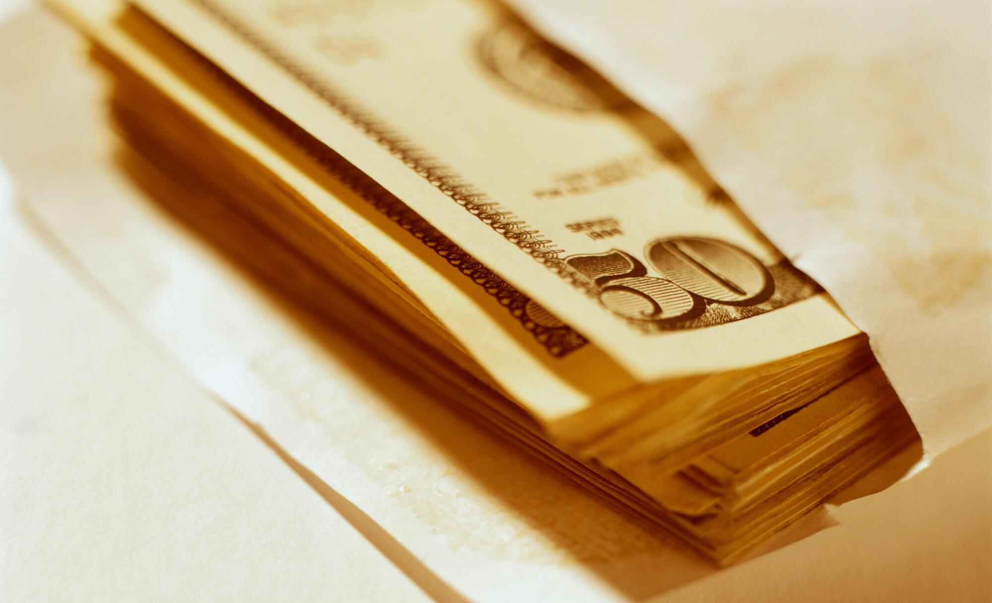 an envelope full of cash
