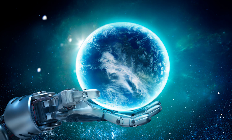 metallic robot hand holding a glowing globe