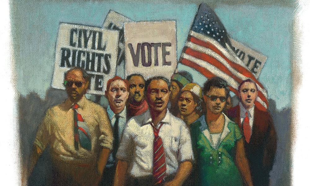 Illustration of Americans marching for civil rights