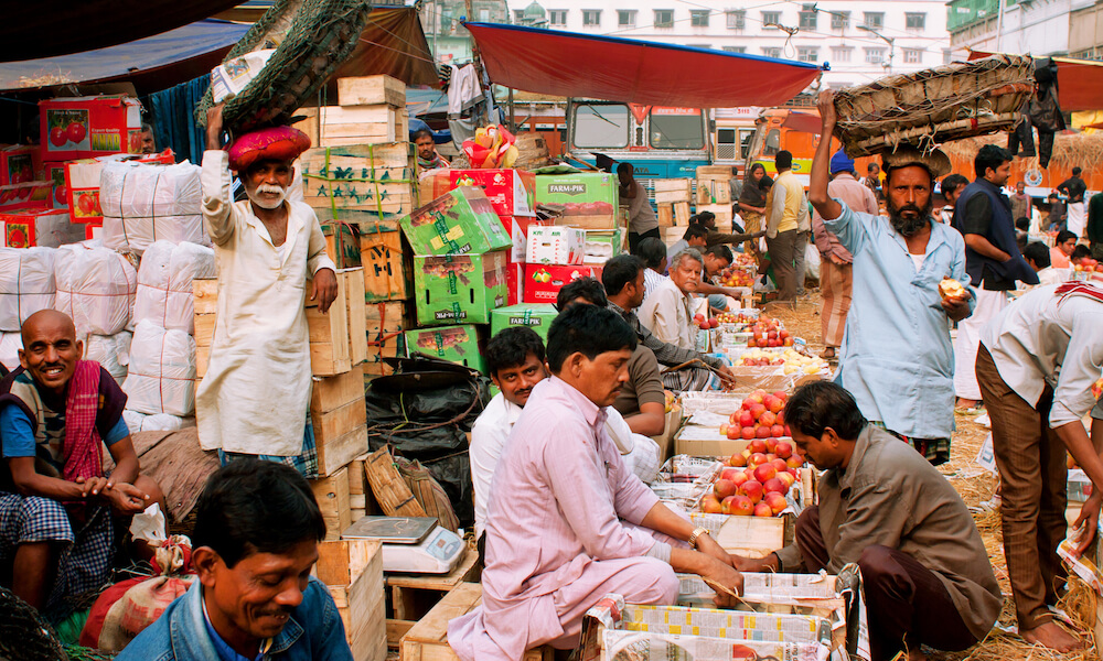 fruits and vegetables being sold at an Indian farmers market