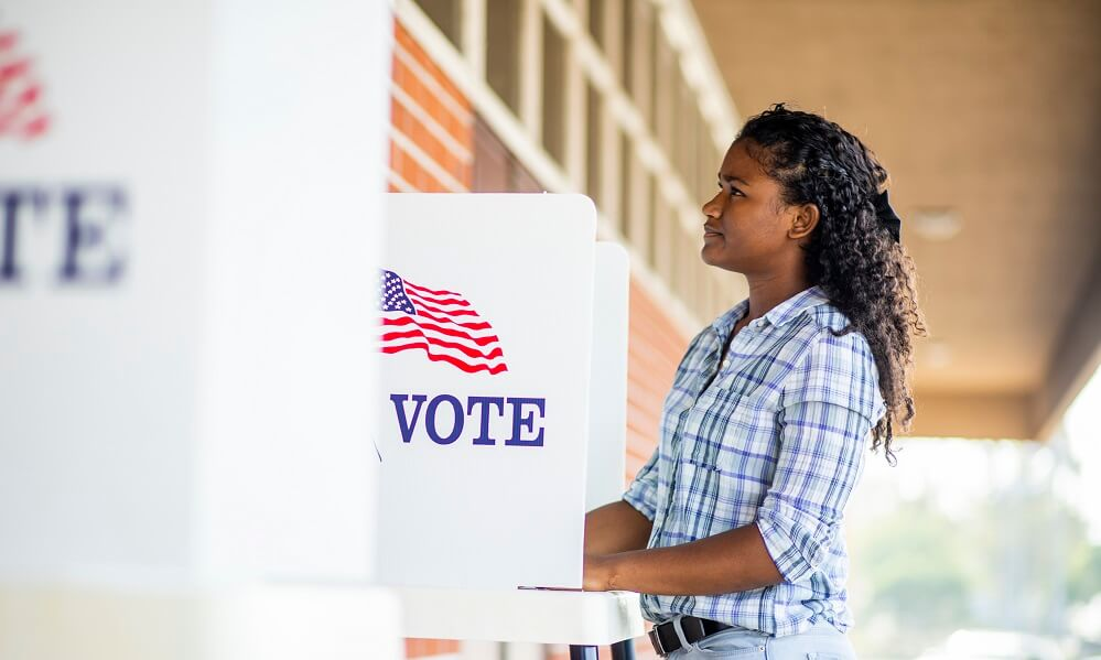 Young Black Girl Voting