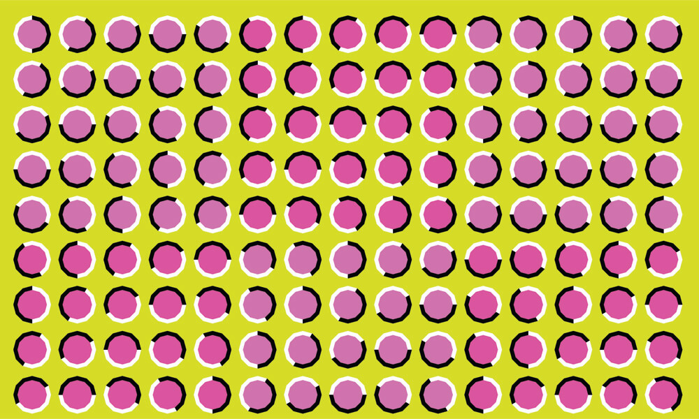 Optical illusion in which circles appear to be moving