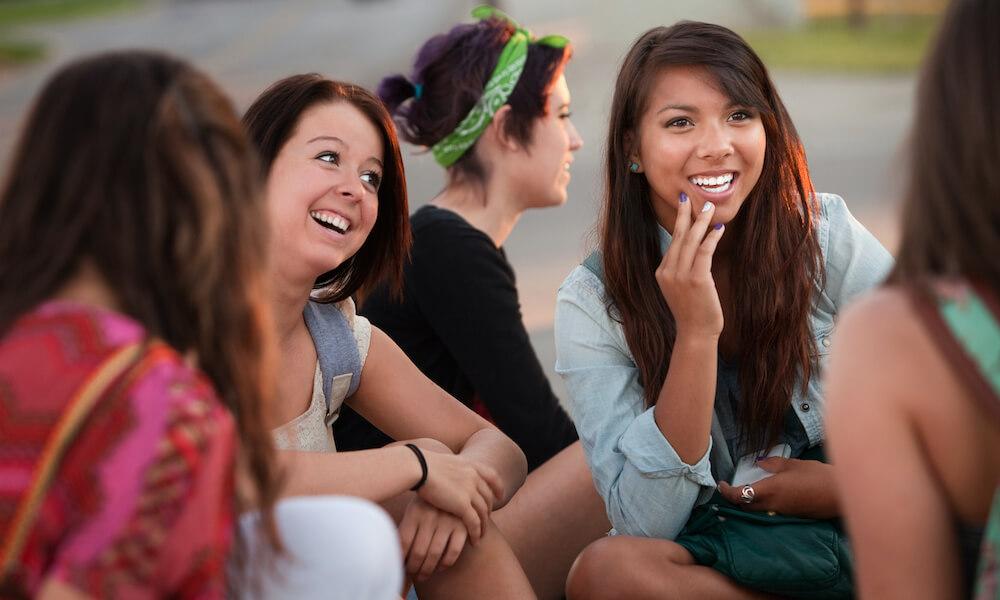 Teen girls having a conversation