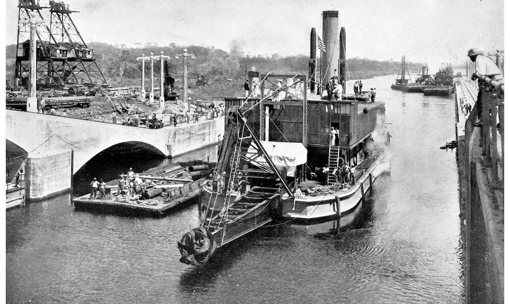 Steam dredger working on the locks of the Panama Canal