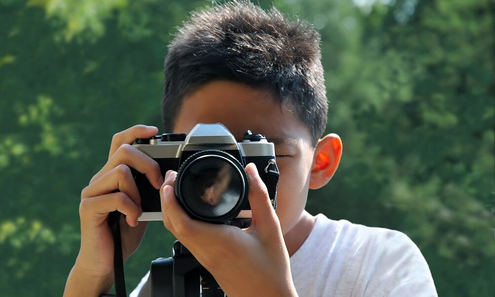 Photography student with camera