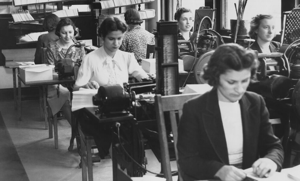 Historical photo of female office workers on the job