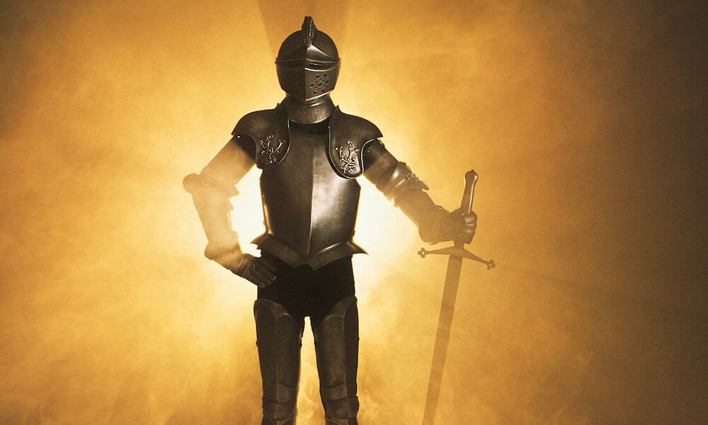 Knight in shining armour with sword