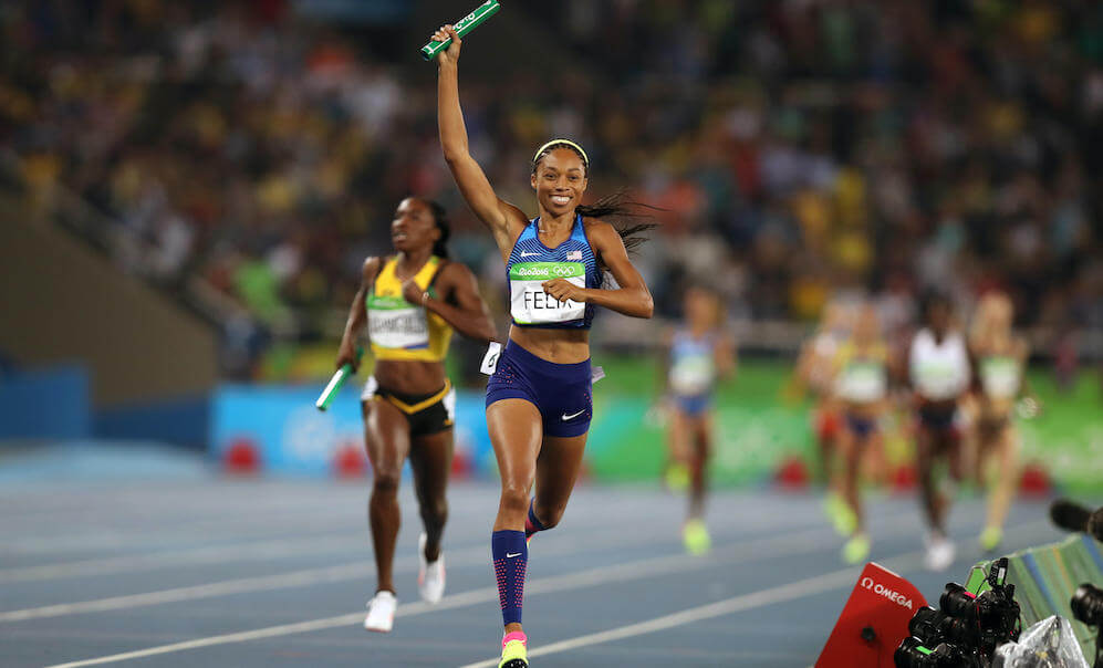 USA's Allyson Felix celebrates victory following the women's 4x400m relay final at the Olympic Stadium on the fifteenth day of the Rio Olympics Games, Brazil.