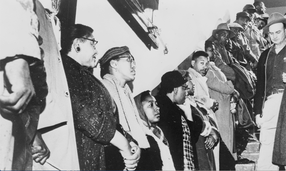 Line of African-Americans on stairs during voter registration in Somerville, Tennessee, April 21, 1960