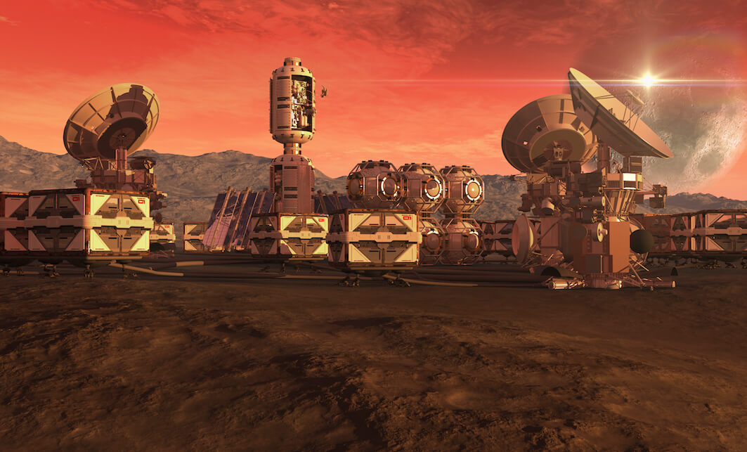 simulated colony on the surface of a red planet: crate pods and satellite dishes