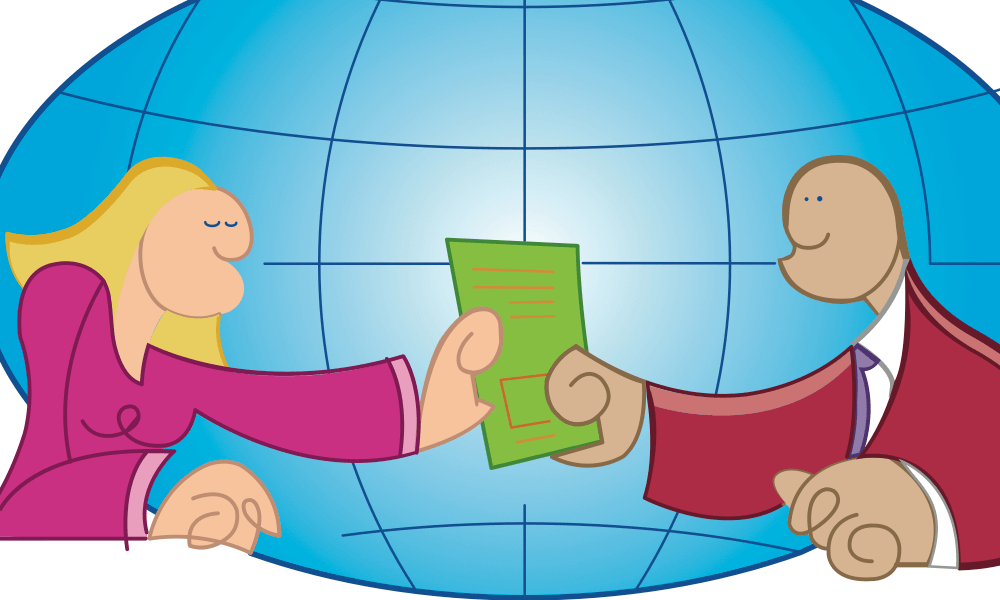 Illustration of a man and a woman holding a contract in front of a globe