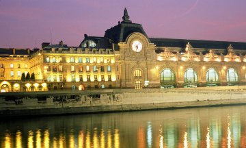 travel, Europe, European cities, Paris, Seine, France, architecture, monument, building, river bank, classic, illumination, lighting, river, night, embankment, Musee d'Orsay