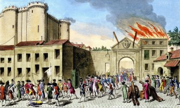 Rendering depicting siege on Bastille during French Revolution