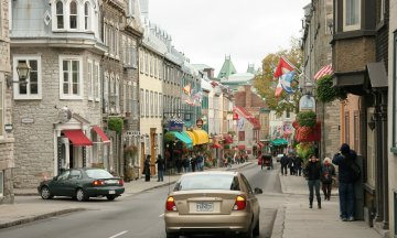 A street scene on the Rue St. Louis, a street in Quebec City, Canada
