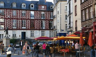 half-timbered, historic architecture, cities and towns, Rue Saint Georges, 16th century, 14th Century, Rennes, France,