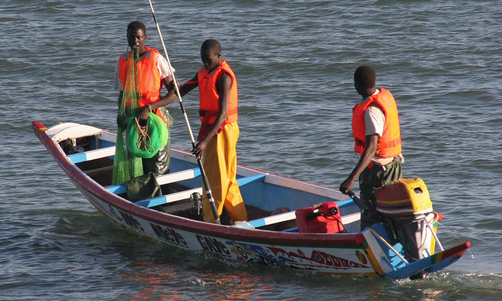 traditional boat fishing, nets, colorful boats, bays, Dakar, Senegals, Africa