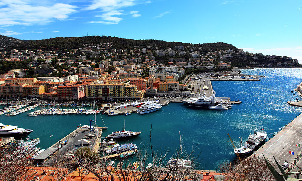 Aerial view of the city and harbor of Nice, France