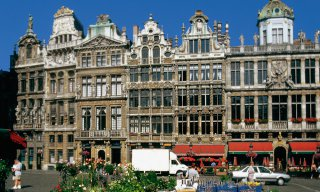 Flower market at Grand Palace in Brussels, Belgium