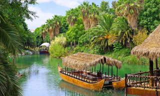 French Polynesia, walking canoe on the river in Polynesia