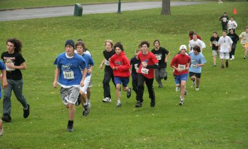 Runners in a cross country race on the Plains of Abraham park in Quebec City, Canada