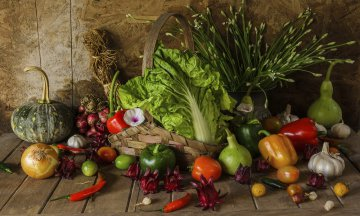 Still life of bounteous harvest: vegetables, herbs, and fruit on wooden table