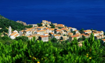 France, Europe, Corsica, houses, buildings, water, seas, seashores, coasts, coastlines, oceans, villages, towns, trees, shrubs