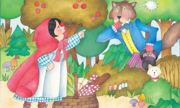 girls Little Red Riding Hood pointing wolves Animals and Plants People Mammals Children Female Famous Characters