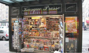 The Kiosque Presse newsstand in Paris, France