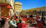 People-watching from a Cafe in the Cours Saleya, the marketplace in the old town of Nice on the Cote d'Azur, French Riviera