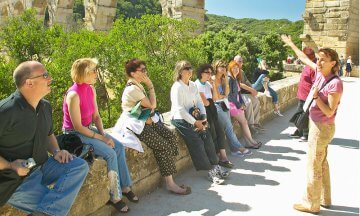 Tourists at the Pont du Gard Nimes France
