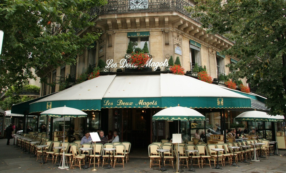 Les Deux Magots cafe at Place Sartre-Beauvais, Place Saint-Germain des Près in Paris France.